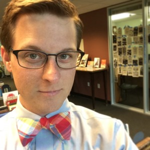 author with bowtie