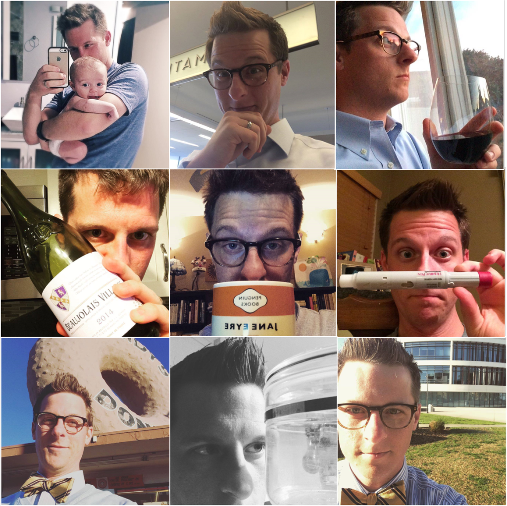nine selfies of the author