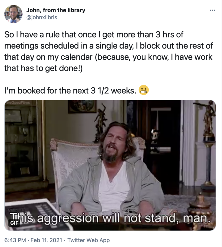 "Twitter post from the author showing scene from The Big Lebowski that reads ""This aggression will not stand, man."""